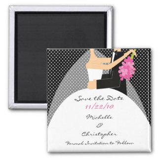 Schwarzes punktiert Braut-u. Bräutigam-Save the Quadratischer Magnet