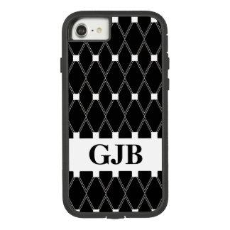 Schwarzes Rauten-Gitter mit Monogramm Case-Mate Tough Extreme iPhone 8/7 Hülle