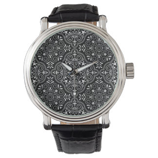 Schwarzes Rokoko-Muster blühen Armbanduhr