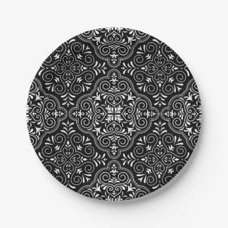 Schwarzes Rokoko-Muster blühen Pappteller