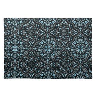 Schwarzes Rokoko-Muster blühen Tischset