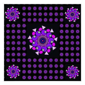 Schwarzes rosa lila kosmisches geometrisches poster