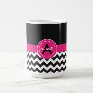 Schwarzes rosa Zickzack Kaffeetasse