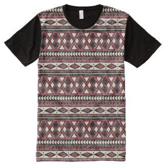 Schwarzes Rotes und Elfenbein-Afrikaner-Muster T-Shirt Mit Komplett Bedruckbarer Vorderseite
