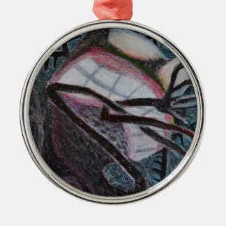 Schwarzes Rundes Silberfarbenes Ornament