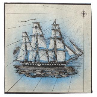 Schwarzes Schiffs-Marinedruck mit blauem Rahmen Stoffserviette