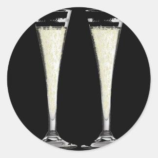 Schwarzes Sektkelch-Glas mit Blasen-Entwurf Runder Aufkleber