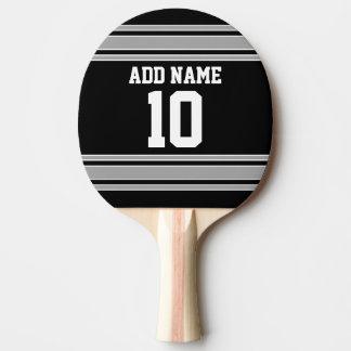 Schwarzes Silber trägt Jersey mit Ihrem Namen u. Tischtennis Schläger