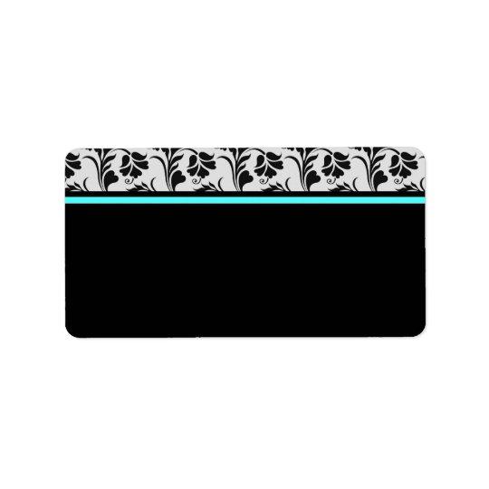 Schwarzes silbernes aquamarines adressaufkleber