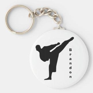 Schwarzes Silhouette-Karate Keychain Standard Runder Schlüsselanhänger