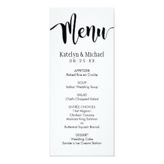 Schwarzes Skript der Hochzeits-Menü-Karten-| 10,2 X 23,5 Cm Einladungskarte
