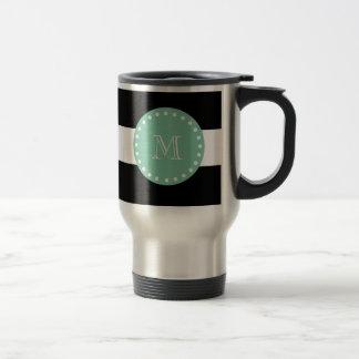 Schwarzes Streifen-Muster, tadelloses grünes Edelstahl Thermotasse