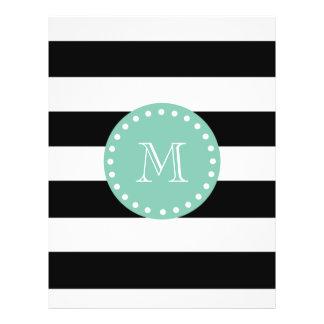 Schwarzes Streifen-Muster, tadelloses grünes Monog Flyer Druck