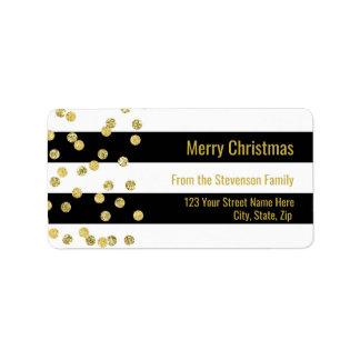 Schwarzes Stripes Goldconfetti-frohe Weihnachten Adressaufkleber