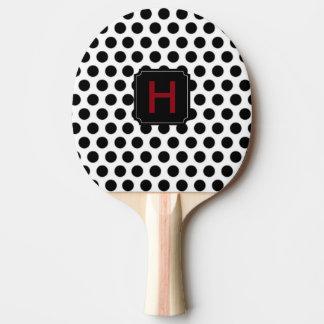 Schwarzes Tupfen-Monogramm-Klingeln Pong Paddel Tischtennis Schläger