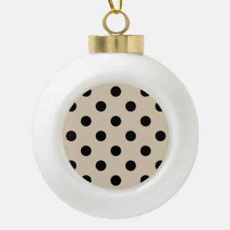 Schwarzes Tupfen-Muster - TAN Keramik Kugel-Ornament