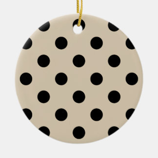Schwarzes Tupfen-Muster - TAN Keramik Ornament