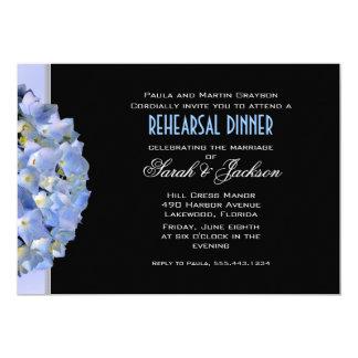 Schwarzes u. blaues Hydrangea-Proben-Abendessen 12,7 X 17,8 Cm Einladungskarte