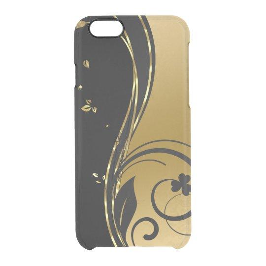 Schwarzes u. elegantes GoldblumenWirbels-Entwurf Durchsichtige iPhone 6/6S Hülle