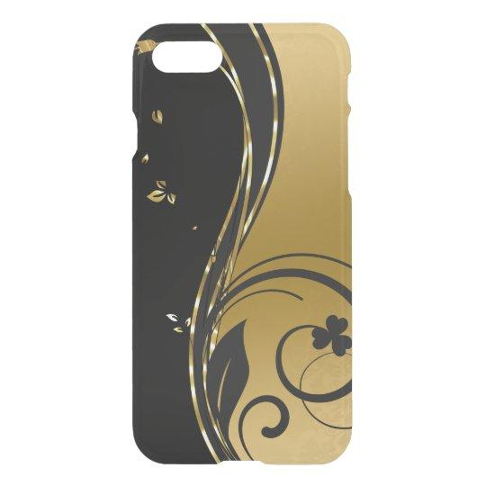 Schwarzes u. elegantes GoldblumenWirbels-Entwurf iPhone 7 Hülle