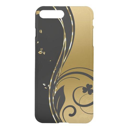 Schwarzes u. elegantes GoldblumenWirbels-Entwurf iPhone 8 Plus/7 Plus Hülle