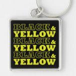 Schwarzes u. gelbes großes erstklassiges Keychain Schlüsselband