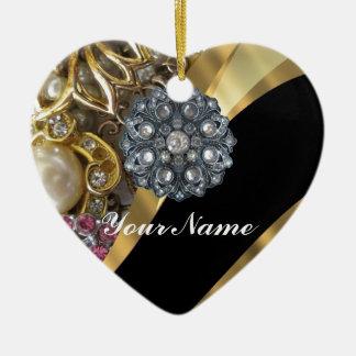 Schwarzes u. Gold bling sind Keramik Ornament