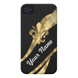 Schwarzes u. gold Fleur de Lys Case-Mate iPhone 4 Hüllen