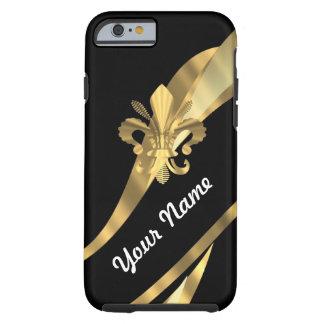 Schwarzes u. gold Fleur de Lys Tough iPhone 6 Hülle