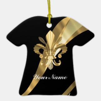 Schwarzes u. gold Fleur de Lys Keramik T-Shirt-Ornament