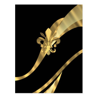 Schwarzes u. gold Fleur de Lys Postkarte