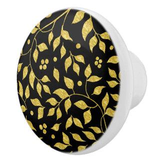 Schwarzes u. Goldblatt-Muster Keramikknauf