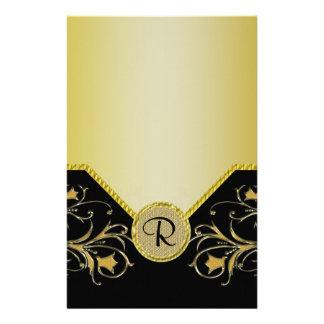 Schwarzes u. Goldblühende Rebe-Monogramm-Hochzeit Briefpapier