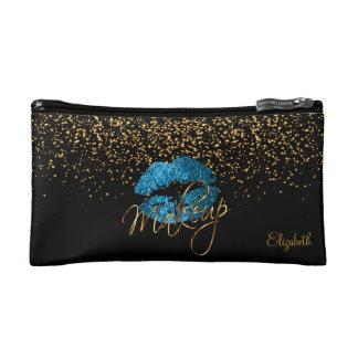 Schwarzes u. GoldConfetti-blaue Makeup-Tasche