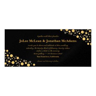 Schwarzes u. Goldconfetti-Hochzeits-Party 10,2 X 23,5 Cm Einladungskarte