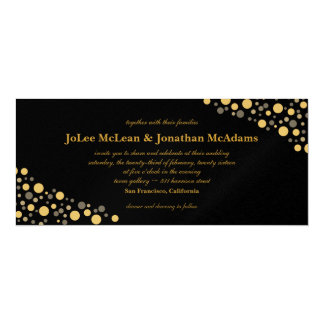 Schwarzes u. Goldconfetti-Hochzeits-Party Karte