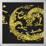 Schwarzes u. Goldfeuer-Drache-Plakate