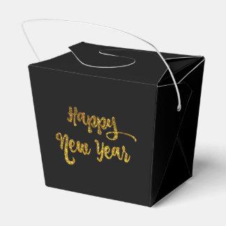 Schwarzes u. GoldGlitter-glückliches neues Geschenkschachtel
