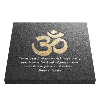 Schwarzes u. GoldOM-Symbol YOGA Meditations-Lehrer Leinwanddruck