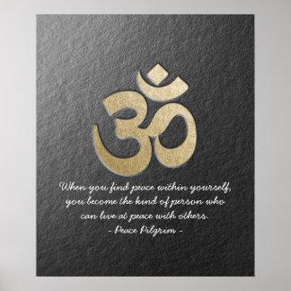 Schwarzes u. GoldOM-Symbol YOGA Meditations-Lehrer Poster