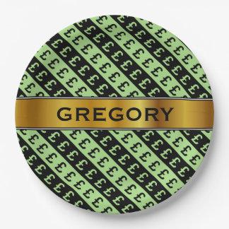 Schwarzes u. grünes Pfund unterzeichnet (£) Pappteller