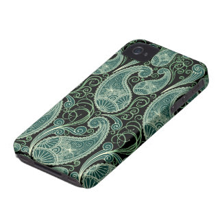 Schwarzes u. grünes Retro Orante Paisley iPhone 4 Etuis