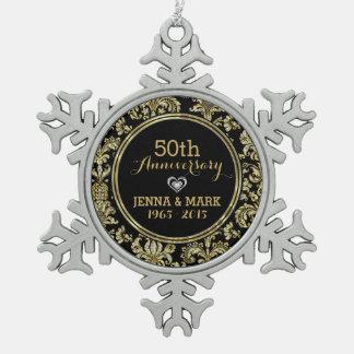 Schwarzes u. Hochzeitstag-Verzierung 2a des Schneeflocken Zinn-Ornament