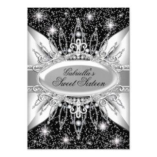 Schwarzes u. Silber-Schein-Diamant-Bonbon 16 laden 11,4 X 15,9 Cm Einladungskarte