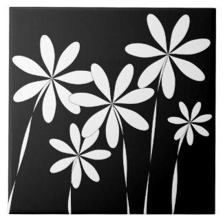 Schwarzes u. Weiß der Blumen-Bliss2 Fliese