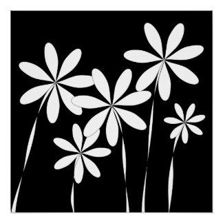 Schwarzes u. Weiß der Blumen-Bliss2 Poster