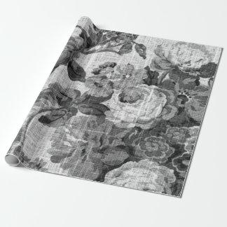 Schwarzes u. weißes BlumenToile botanisches Geschenkpapier