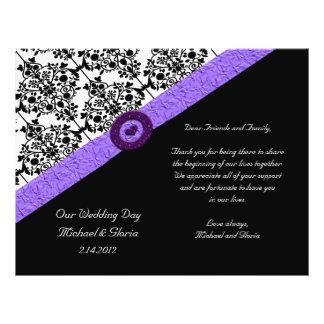 Schwarzes u. weißes Damast-Lavendel-Schein-Herz 21,6 X 27,9 Cm Flyer