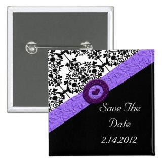 Schwarzes u. weißes Damast-Lavendel-Schein-Herz Quadratischer Button 5,1 Cm