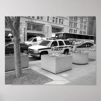Schwarzes u. weißes Foto FBI-Fahrzeug-Washington Poster